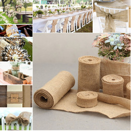 Wholesale Rustic Linens - Wedding Linen Roll Decorations New Wedding Decorations Linen DIY Manual Volume Flower Decoration Wedding Roll Rustic Decor More Width Size