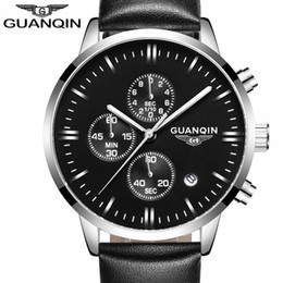 Wholesale Guanqin Watches - Wholesale- relogio masculino GUANQIN Mens Watches Top Brand Luxury Chronograph Luminous Clock Fashion Men Sport Casual Leather Quartz Watch