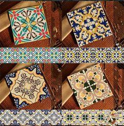 Wholesale Cheap Sticker Wallpaper - wallpaper tile kitchen 10 pice cheap beautiful artistic PVC mediterranean style varied exotic pattern background sticker
