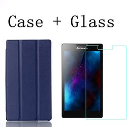 """Wholesale Glass Tablet Lenovo - Wholesale-Tempered Glass Screen Protector + PU Leather Cover Case for Lenovo Tab 2 A7 30 A7-30 A7-30HC A7-30TC 7"""" Tablet"""