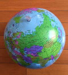 Wholesale 1pc CM Globe Map Inflate Inflatable Round Earth World Teacher Beach Ball Geography Detailed Illustration Teaching Aid Toy PVC