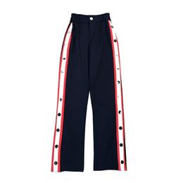 2018 Fashion Design Pantaloni donna Top Brand Side Button a righe divise donne pantaloni dritti in vita elastica Pantalones Mujer supplier trouser button design da disegno del tasto del pantalone fornitori