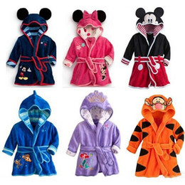 Wholesale Gilrs Clothing - Kids Cartoon Bathrobe Children Pajamas for Kids Hoodies Baby Towels Robe Boys Gilrs Flannel Nightgowns Kids Clothing LA357