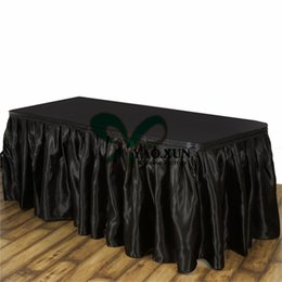 Canada Jupe de table en satin plissé de couleur blanche ou noire \ Tissu de table prix bon marché bordant la livraison gratuite Offre