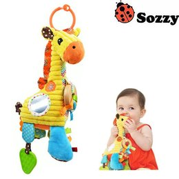Wholesale Boxing Ring Bell - Wholesale- Sozzy Baby Toys Cute Plush Giraffe Music Bell Music Box Little Violin Contains Small Mirrors Teethers Wooden Ring Baby Toys #F