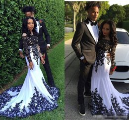 Wholesale Couples Wear - Vintage White And Black Lace Formal Celebrity Evening Dresses Sheer Neck Long Sleeves Plus Size 2017 Cheap Fashion Couple Prom Party Gowns