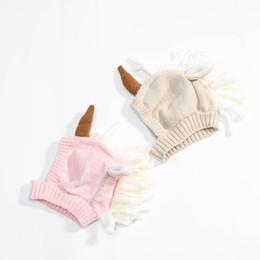 Wholesale cartoon hand warmer - Newest infant unicorn hats Woolen Winter Knitted Hats Warm Hedging Caps cartoon Hand Crochet Caps C2814