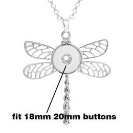 Wholesale Dragonfly Pendants Wholesale - Wholesale tz023 Dragonfly snap button jewelry pendant Necklace Chunk button jewelry (fit 18mm 20mm snaps) Zinc alloy