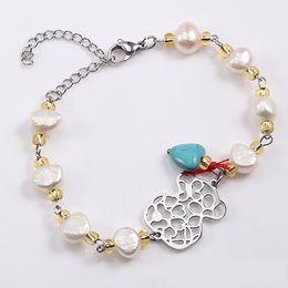 Wholesale Pear Sets - TL Love Brand Imitation Pear Bangle&Bracelet Stainless Steel Bear Bracelet Charm Gold Filled Link Chain Bracelet For Women gift