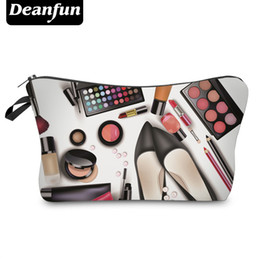 Wholesale Organizer For Women - Wholesale- Deanfun 3D Printing Cosmetic Bags 2017 Zipper Polyester Storage Travel Organizer Necessary For Women Makeup Fashion 50757