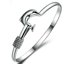 Wholesale Fine Silver Mesh - Hot Sell Bangle Xmas Gift Silver Plate Charm Bangle Fine Noble Mesh Dolphin Bracelet Fashion Jewelry Friendship Bracelets