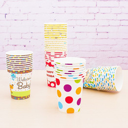 Wholesale Paper Cup Pink Dot - Wholesale- Paper Party Drinking Cups 50pcs lot Baby Pink Polka Dot Striped Bee Rainbow Paper Drinking Cups 5 Colros Birthday Cups