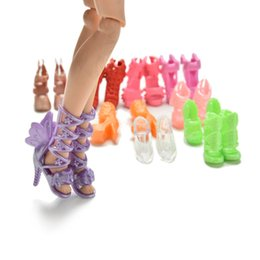 Wholesale shoes for dolls - 20Pcs=10Pairs Doll Shoes Bandage Bow High Heel Sandals for Barbies Toys Fixed Styles Color Random
