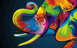 Wholesale Elephant Canvas Painting - Oil Paintings Canvas Abstract Elephant Colorful Animals Wall Art Home Decor Pictures Wall Pictures For Living Room