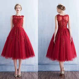 Wholesale Make White Wine - SSYFashion Vestidos 2017 hot Wine Red Evening Dress Lace Embroidery A Line Sleeveless Tea Length Zipper Back Tulle Formal Party Prom Gowns