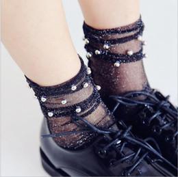 Wholesale Transparent Ankle Socks - Glitter Mesh Silver beads Women Socks Fashion Short Socks Shiny Harajuku Soft Ladies Funny Socks Transparent Elastic Hosiery