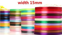 Wholesale Wedding Party Craft Satin Ribbon - 15mm X 100 Yards Satin Ribbon Wedding Christmas Party Event DIY Decoration Craft Sewing Accessories Ribbon Rollers festive