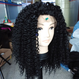 Wholesale Long Curly Heavy Wig - Long Loose Kinky Curly Synthetic Lace Front Wig 180% Heavy Density Black Color Heat Resistant Fiber For Black Women 16-26 Inch