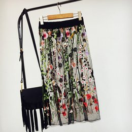 Wholesale Bohemian Denim Skirts - Women Mesh Sheer Voile Skirt See Through Embroidery A-lined Pleated Vintage Chic Pin Up Retro Bohemian Beach Holiday Wear Summer