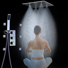 Wholesale Led Shower Body Spray - 20 Inches Thermostatic Without LED Bath Shower Water Faucet Sets 6 PCS Massage Body Spray Jets Set Square Mixer Valve Ceiling T 161222# 1612