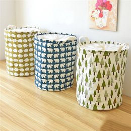 Wholesale Linen Storage Baskets - ZAKKA Canvas Linen Laundry Hamper Bucket Cloth Ins Storage Baskets Organizer Polka Dot Stripe Dirty Clothes Toys Bag For Kids Room 0703153