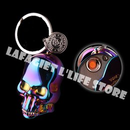 Wholesale Electronic Cigarettes Skulls - Wholesale- 1pc Windproof Colorful Skull ARC Cigarette Lighter Flameless Smoking Gadget Rechargeable Electronic USB Lighter for businessman