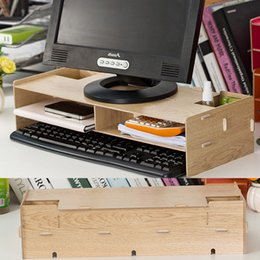 Wholesale Wood Desk Organizers - Wholesale- New Desk Storage Wood DIY Increase Computer Display Keyboard Placement Desk Organizer Prevention Of Cervical Spondylosis