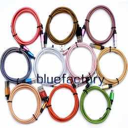Wholesale charger extension - Aluminium Alloy 1M 2M 3M Spun Gold Braided Cable Micro USB Data Sync Charger Charging Cord Extension Wire for Samsung S7 S8 HTC