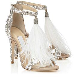 Wholesale Tie Up Lady - Hot Crystal Embellished White Feather Fringed Rhinestone High Heels Sandals Bridal Wedding Shoes Women Ladies Stiletto Pumps