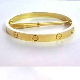 Wholesale Bohemian Bags - Titanium Steel Love Bracelets for women rose gold silver gold Screwdriver Bangles men charm screw bracelet Couple Jewelry with original bag