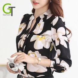 Wholesale Women Floral Button Shirt - Women Chiffon Blouses 2017 Autumn New Fashion V-Neck Slim Women Chiffon Blouse Office Work Wear shirts Women Tops Plus Size Blusas