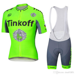 Wholesale Saxo Bank Tinkoff Bib Shorts - Hot! Tinkoff saxo bank Fluo Cycling Jersey Breathable Bike Clothing Quick-Dry Bicycle Sportwear Ropa Ciclismo GEL Bib Shorts E0801