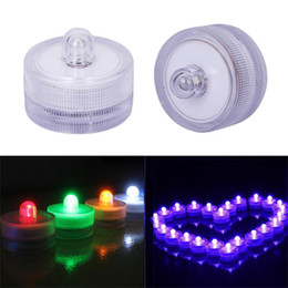 fish pond tanks Promo Codes - LED Submersible Waterproof Tea Lights led Decoration Candle underwater lamp Wedding Party Indoor Lighting for fish tank pond 12pcs set