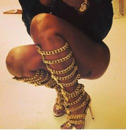 Wholesale thigh motorcycle boots - Gladiator Summer Women Hollow Outs Chains Decorated Knee High Back Zipper Stiletto Thigh High Heel Women Long Sandal Boots