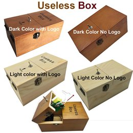 Wholesale Real Science - Turns Itself Off Useless Box Leave Me Alone Machine Fully Assembled in Real Wood Boring box Wooden box creative birthday gift gift Toys