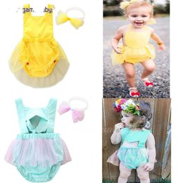 Wholesale Dress Lace Rompers Baby Girl - Ins baby Rompers lace Dress Bodysuits Girls Lace Romper With Headband set Newborn Jumpsuit Infant One Piece Clothing Babies Onesies A737
