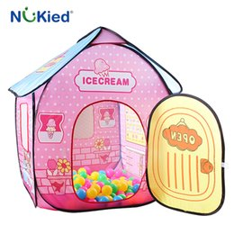Wholesale Fold Up Tent - NUKied Girl Ice Cream House Portable Play Tents Outdoor Garden Folding Toy Tent Pop Up Kids Princess Castle Children Playhouse