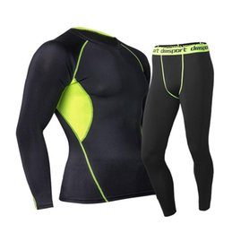 Wholesale Spandex Under Clothes - Men's Sports Sets Compression Under Base Layer T-Shirts Quick-dry Pant Athletic Long Sleeves Body Armour Men Fitness Gym Clothing Tshirt