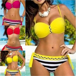Wholesale Top Fashion Swimwear - Women Push Up Bikini Set Knit Bandage Swimwear Sexy Brazilian Swimsuit Fashion Bathing Suit Stripe Beachwear Biquini Top Bottom YJ0213
