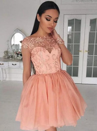 Wholesale Elegant Cocktail Organza - Peach Sheer Long Sleeves Short Homecoming Dresses 2018 New Elegant Lace Sequins Knee Length Cocktail Party Gowns Sweet 15 Party Wear