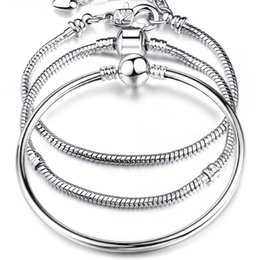 Wholesale Men Pandora Bracelet - Wholesale 925 Sterling Silver Bracelets Snake Chain Fit Pandora Charm Bead Bangle Bracelet KC Real Gold Jewelry Gift For Men Women