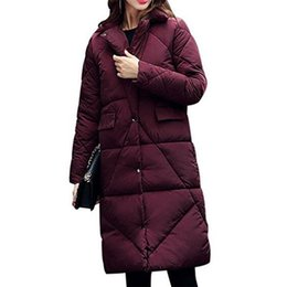 Wholesale Quilted Coat Black - New Women's Quilted Winter Warm Thickened Parka Long Down Jacket Puffer Coat