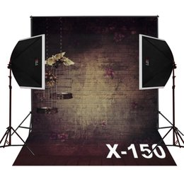 Wholesale photography background wall prop - floral bricks wall bird cage decor photo background for baby newborn studio prop digital vinyl photography backdrops camera fotografica
