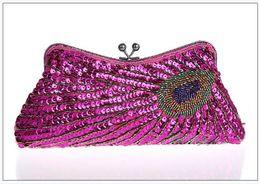 Wholesale Wholesale Beaded Purses Handbags - 18pcs Vintage Beads Sequib Handbag Party wedding Bridal embroidery Evening Clutch Purse wallet make up bag case