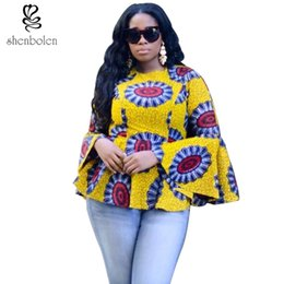 Wholesale Wax Print Patterns - Shenbolen African style pattern of women traditional classical wax printing ink printed cotton hubble-bubble sleeve blouse