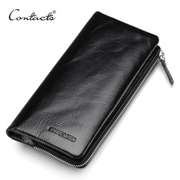 Wholesale Classical Vintage - CONTACT'S 2017 New Classical Genuine Leather Wallets Vintage Style Men Wallet Fashion Brand Purse Card Holder Wallet Long Clutch