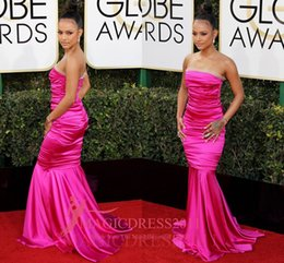 Wholesale Globe Prom - Feminine Fuchsia Ruched Satin Mermaid Evening Prom Dresses Karrueche Tran Golden Globes 2017 Special Occasion Dress Strapless Celebrity Gown
