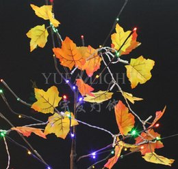 Wholesale Seven Strings - Wholesale- Seven Color Fall Leaves 10 LED Light String Autumn Leaf Outdoor Garland Crawling Lighting Harvest Thanksgiving Day Party Decor