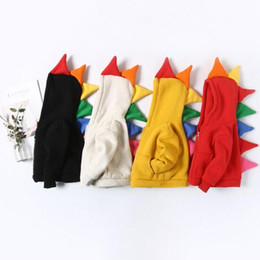 Wholesale Boys Dinosaur Hoodies - ins cute style kids girl boy Hoodies colorful horned dinosaur design 100% cotton child thick warm Zipper Hoodies & Sweatshirts 4 colors