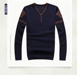 Wholesale Designer V Neck - Wholesale- 2016 New Autumn Simple Straight Men's Sweater 100% Cotton Casual Thin Men's Sweaters Fall Winter Designer Sweaters Men Knitwear